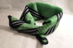 Green scarf with navy. Striped and dotted.
